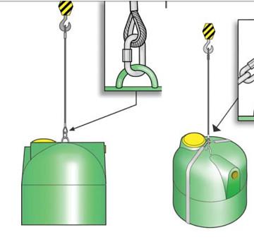 Carga, descarga y transporte de un depósito de agua